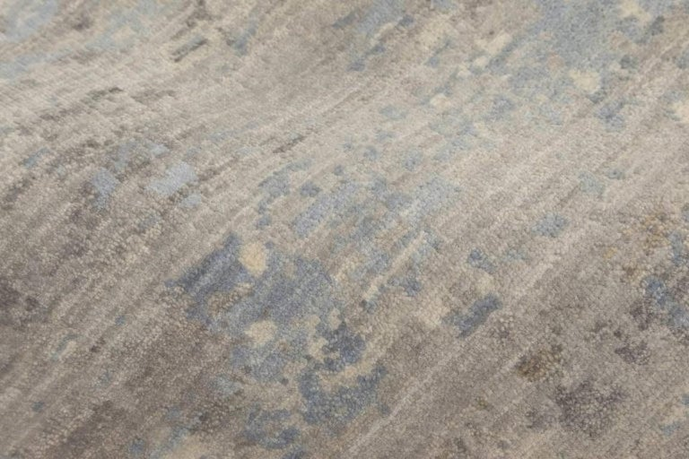 Nepalese 21st Century Art Deco Design in Shades of Blue and Gray Wool Rug For Sale