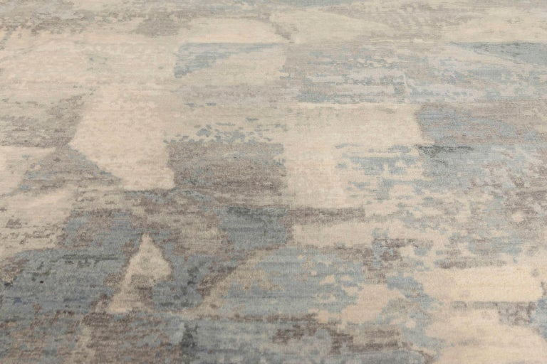 Hand-Knotted 21st Century Art Deco Design in Shades of Blue and Gray Wool Rug For Sale