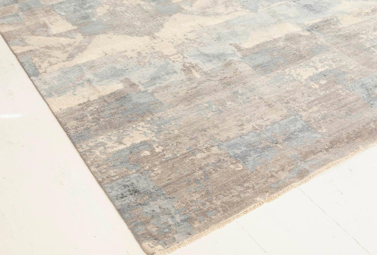 Contemporary 21st Century Art Deco Design in Shades of Blue and Gray Wool Rug For Sale