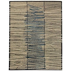 Contemporary Art Deco Design Light Gray, Black and Navy Blue Wool Rug
