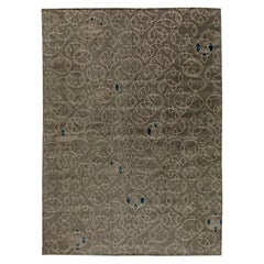 Contemporary Art Deco Design Taupe & Beige Hand Knotted Wool & Silk Rug