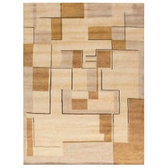 Contemporary Art Deco Inspired Beige, Brown, Gold and Black Handmade Wool Rug