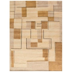 Contemporary Art Deco Inspired Beige, Brown and Gold Handwoven Wool Rug
