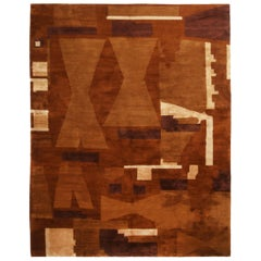 Contemporary Art Deco Inspired Design Brown and Beige Wool and Silk Rug