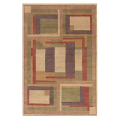 Contemporary Art Deco Inspired Hand Knotted Wool Rug