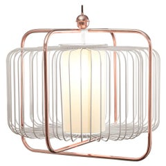 Contemporary Art Deco Inspired Jules I Pendant Lamp in Copper, Taupe and Linen