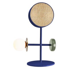 Contemporary Art Deco Inspired Monaco Table I Lamp in Cobalt, Brass and Green