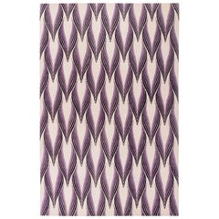 Contemporary Art Deco Inspired Tibetan Rug in Gray, Violet, and Black