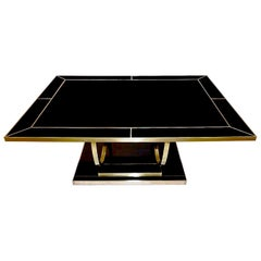 Contemporary Art Deco Italian Black Glass and Brass Coffee Table on Curved Legs