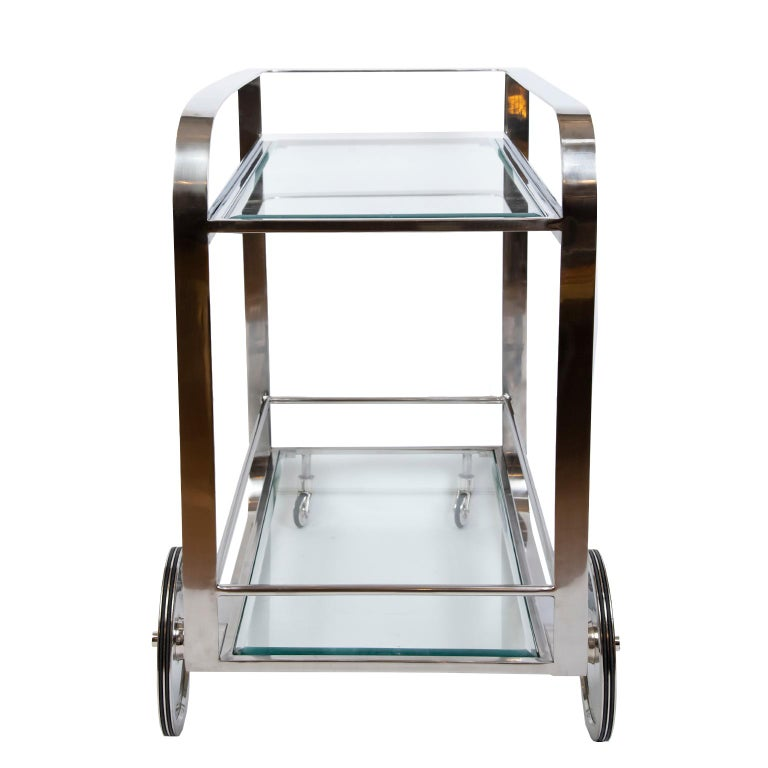 Contemporary Art Deco Style Bar Cart For Sale 4