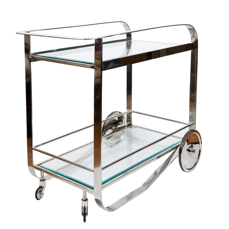 Contemporary Art Deco Style Bar Cart For Sale 3