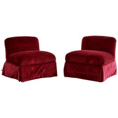 Contemporary Art Deco Style Pair Magenta Slipper Side Accent Chairs by Pearson