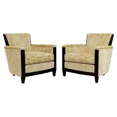 Contemporary Art Deco Style Pair of Mahogany Club Barrel Chairs by Donghia