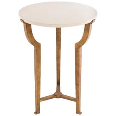 Contemporary Art Deco Style Round Side Table with Travertine Top and Gilt Base