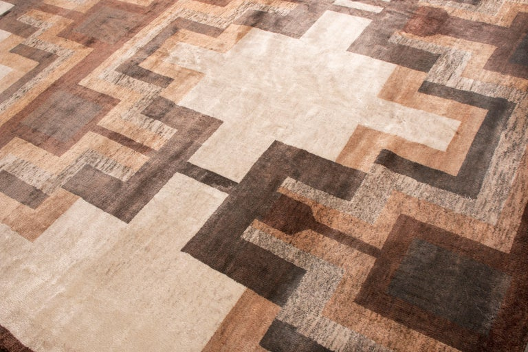Indian Contemporary Art Deco Style Rug, Beige Brown Geometric Pattern by Rug & Kilim For Sale