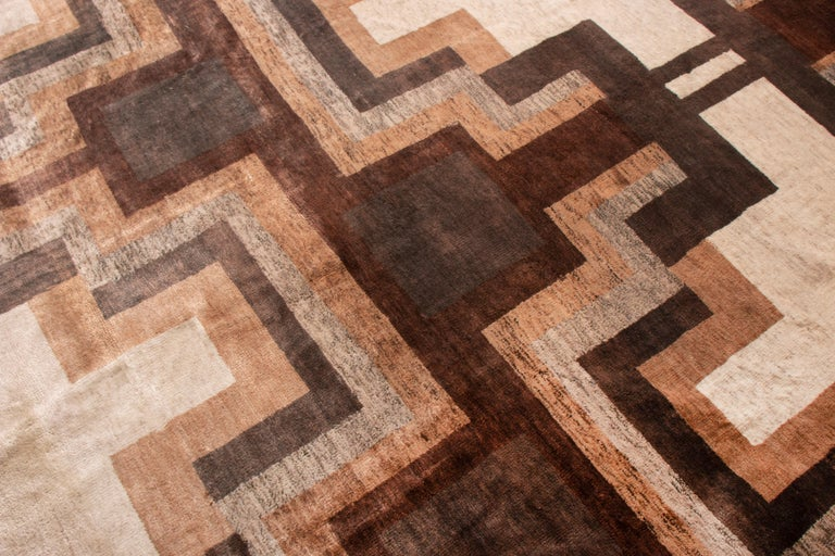 Hand-Knotted Contemporary Art Deco Style Rug, Beige Brown Geometric Pattern by Rug & Kilim For Sale