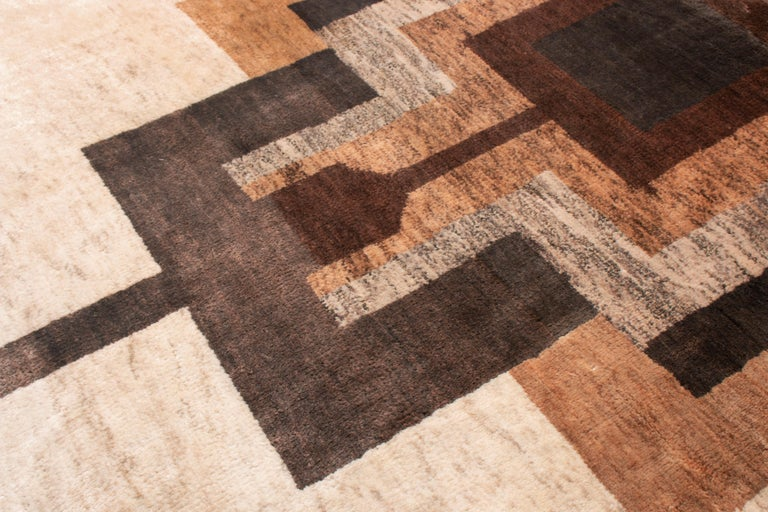 Contemporary Art Deco Style Rug, Beige Brown Geometric Pattern by Rug & Kilim In New Condition For Sale In Long Island City, NY