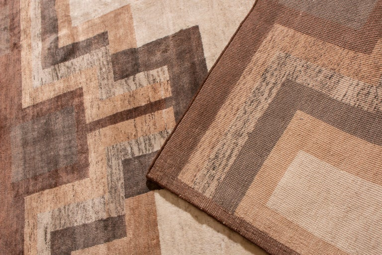 Wool Contemporary Art Deco Style Rug, Beige Brown Geometric Pattern by Rug & Kilim For Sale
