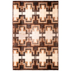 Contemporary Art Deco Style Rug, Beige Brown Geometric Pattern by Rug & Kilim