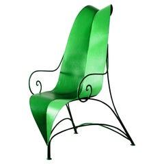 Contemporary Art Metal Armchair Foglia Green Black by Fabrizio Corneli
