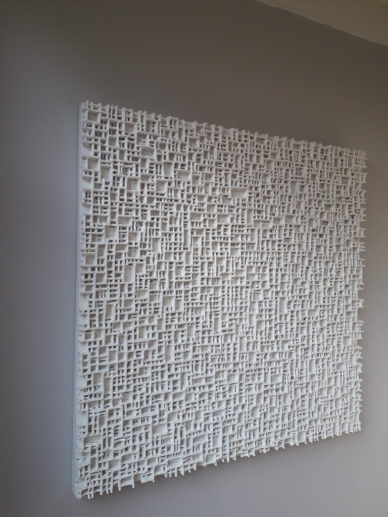 Contemporary art, minimal and Zero art, acrylic fiber weave sculpture Title: Serial Sabotage Technique: high pressured acrylics on wood panel. The Primary picture with a size of 150 x 150cm is in stock, price € 16.800,- This can be in house in 3