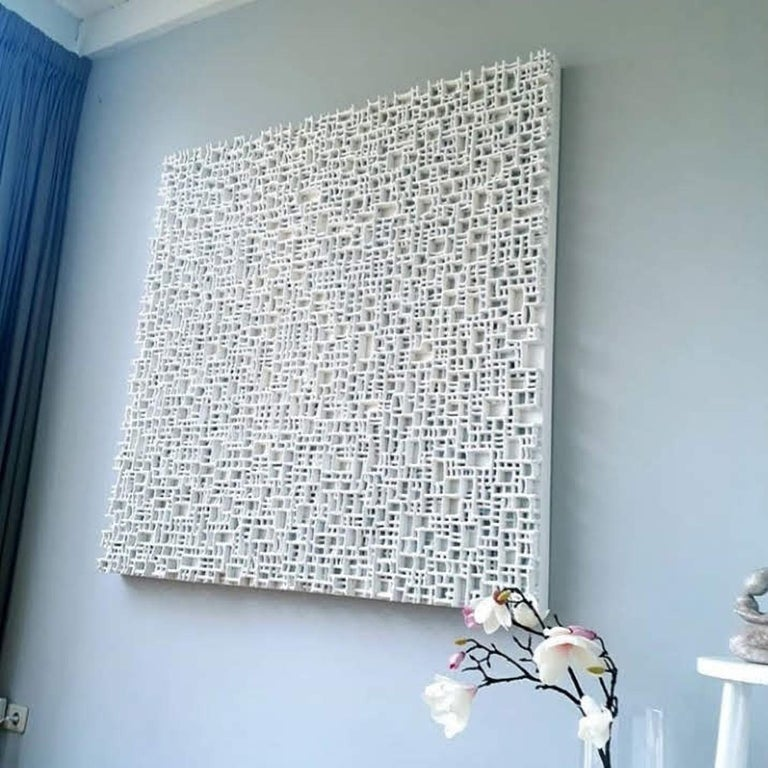Hand-Crafted Contemporary Art, Minimal and Zero Art, Acrylic Fiber Weave Sculpture For Sale