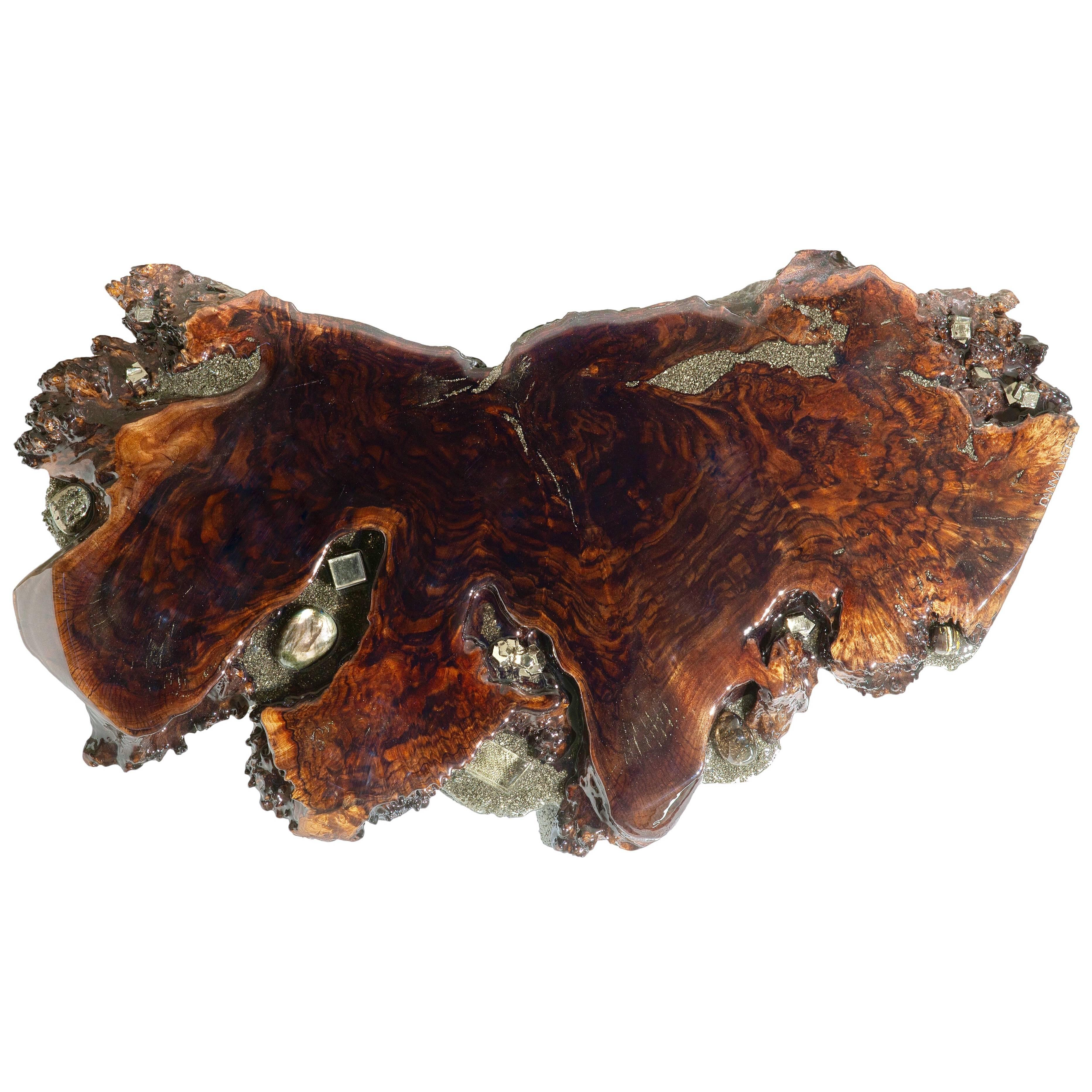 Walnut wood shelf with gemstone inlays