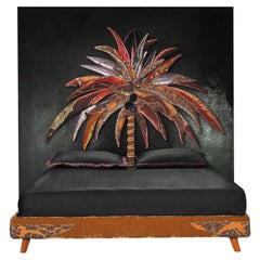 Contemporary Art The Bed Palm Tree Bed in Silk Velvet by Carla Tolomeo