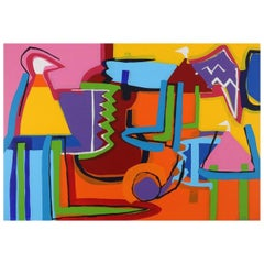 "Contemporary Art ""The Color Maker""Large Abstract Expressionist Acrilic on Canvas"