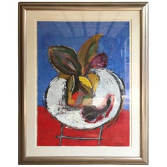 Contemporary Art  Matted and Framed Oil , Colombian Artist Willy Ramos