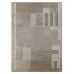Contemporary ArtDeco Style Wool and Silk in Beige and Caramel
