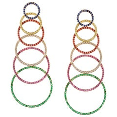 "Contemporary Articulated Multi-Color ""Hoop"" Earrings in Yellow Gold"