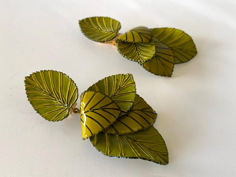 Women's Contemporary Artisan Leaf Statement Earrings For Sale