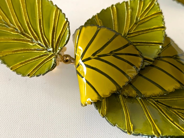 Contemporary Artisan Leaf Statement Earrings For Sale 1