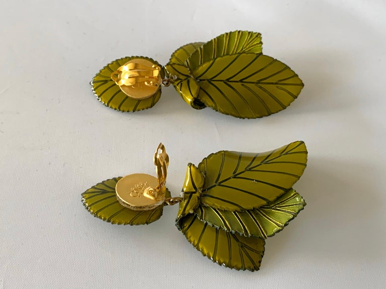 Contemporary Artisan Leaf Statement Earrings For Sale 2