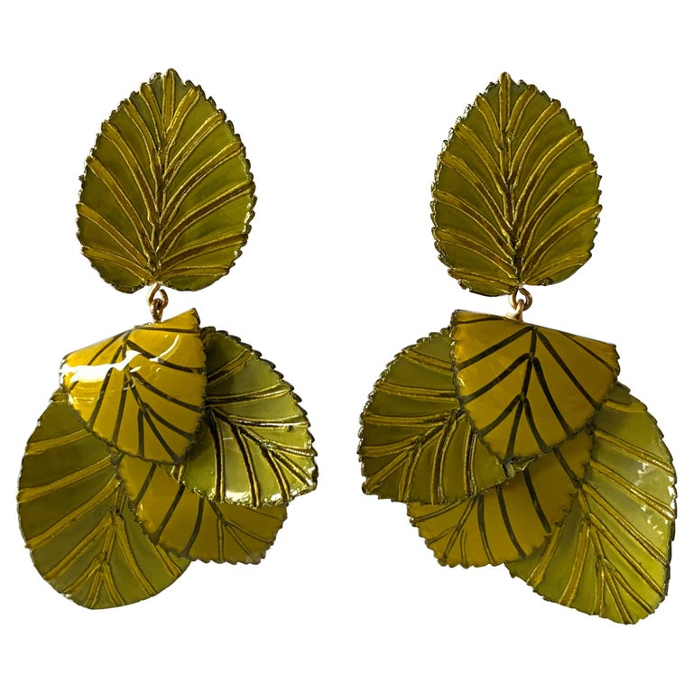 Contemporary Artisan Leaf Statement Earrings For Sale