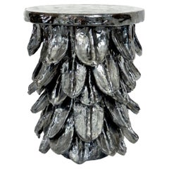 Contemporary Artist Bela Silva Black Organic Sculptural Ceramic Table Stool