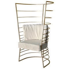 Contemporary Artistic Armchair by Hessentia with Frosted Brass Structure