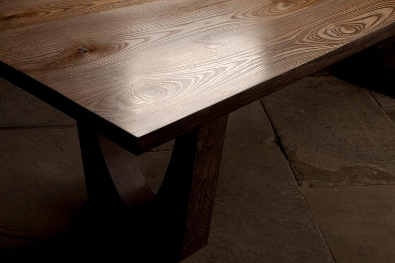 Contemporary Ash Table with Polished Bronze Impregnated Grain In New Condition For Sale In London, GB