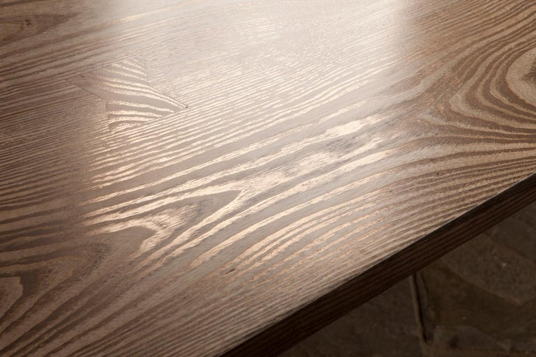 Contemporary Ash Table with Polished Bronze Impregnated Grain For Sale 1