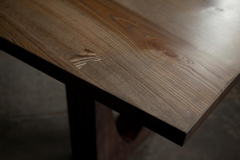 Contemporary Ash Table with Polished Bronze Impregnated Grain For Sale 2