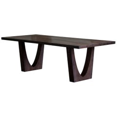 Contemporary Ash Table with Polished Bronze Impregnated Grain