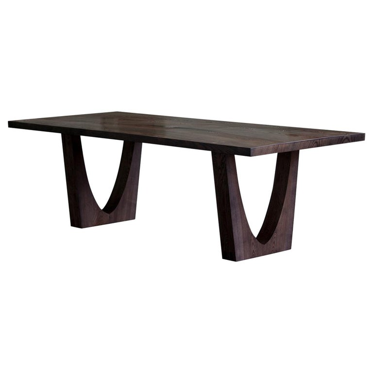 Contemporary Ash Table with Polished Bronze Impregnated Grain For Sale
