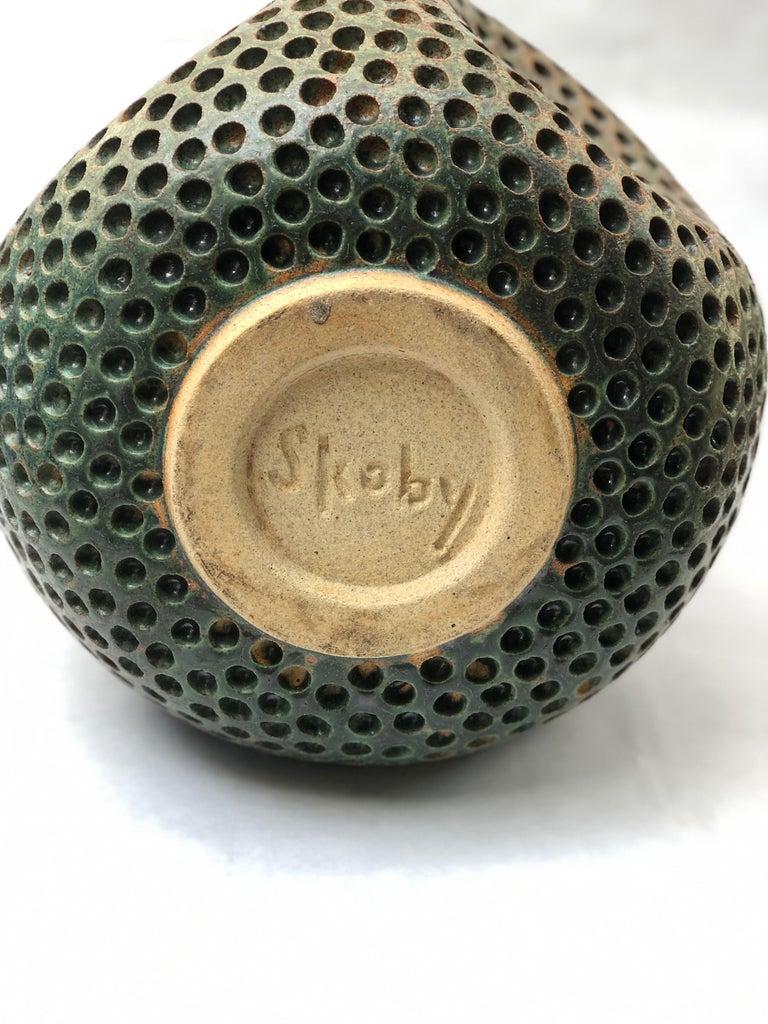 Wabi Sabi Japanese Style Antique Green Hand Carved Ceramic Vase Sculpure Vessel In New Condition For Sale In La Jolla, CA