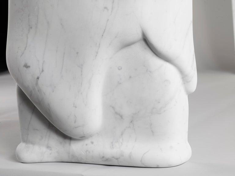 Contemporary Atelier Terrai Italian White Carrara Marble Art Deco Design Console For Sale 6