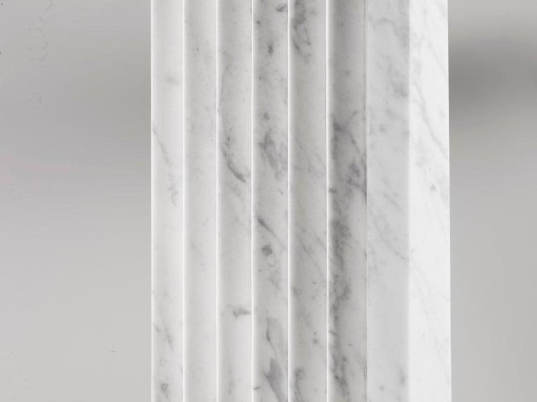 Organic Modern Contemporary Atelier Terrai Italian White Carrara Marble Art Deco Design Console For Sale
