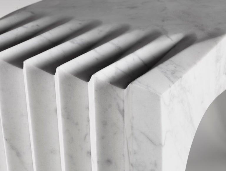 Contemporary Atelier Terrai Italian White Carrara Marble Art Deco Design Console In New Condition For Sale In New York, NY