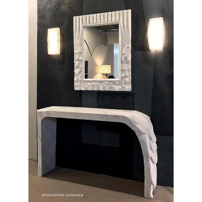 Contemporary Atelier Terrai Italian White Carrara Marble Art Deco Design Console For Sale 1