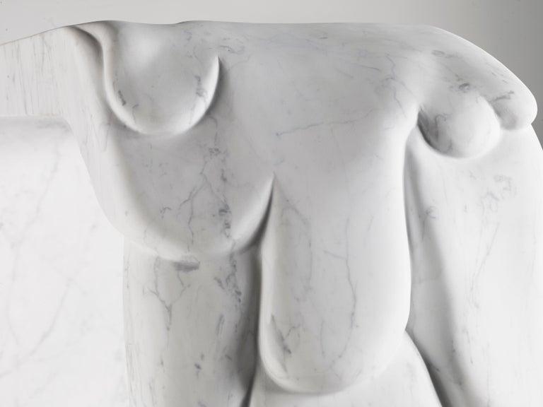 Contemporary Atelier Terrai Italian White Carrara Marble Art Deco Design Console For Sale 2