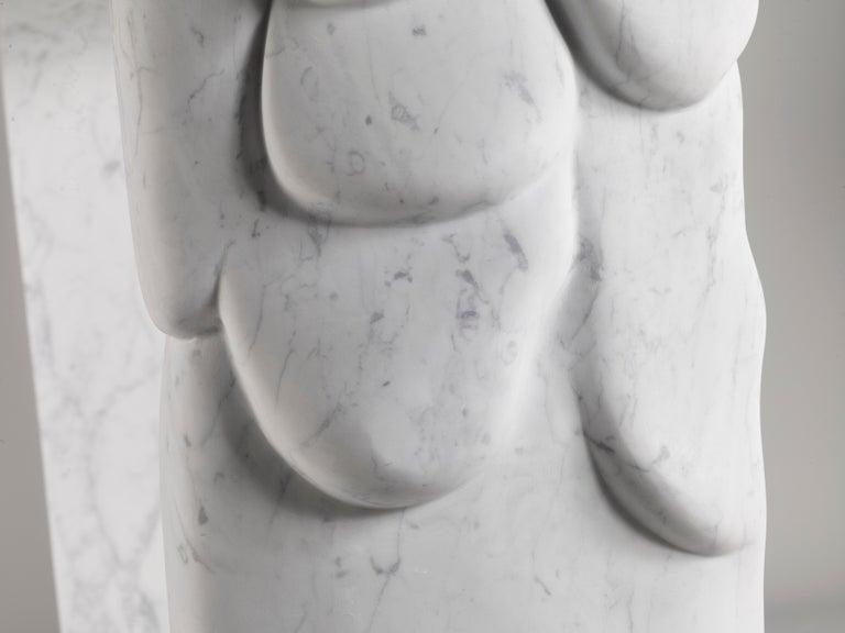 Contemporary Atelier Terrai Italian White Carrara Marble Art Deco Design Console For Sale 3
